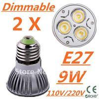 2pcs/lot CREE Dimmable LED High power E27 Base 3x3W 9W led Light led Lamp led Downlight led bulb spotlight Free shipping