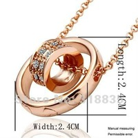KN029 Free shipping 18K GP Necklace pendant Austria crystal fashion jewelry Necklace 18K white/gold/Rose Plate htfa qkma zbva