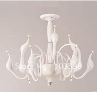 Wholesale hot sale high quality 110v 220v 9 head g4 led 12v 20w swan lamp pendant lights home km-2621 silver color free shipping