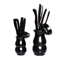 Wood kung fu tea six pieces set zero accessories black gourd