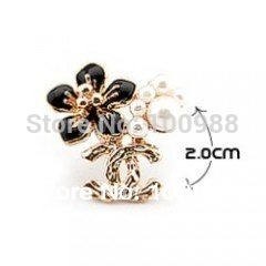 10PC/Lot Free Shipping  Newest Fashion Golden Five Leaves And Flowers  Pearl  Brooch Cheap Brooches