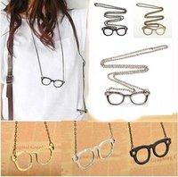 Free Shipping 6pcs Fashion Simple Antique Retro Style Glasses Pendant Chain Necklace261124-261126