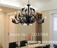 high quality 110v 220v g4 12 v power supply 18 head 20w bulbs swan lamp chandelier for living room black color cfl free shipping
