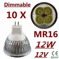 10pcs Free DHL and FEDEX express Dimmable LED High power MR16 4x3W 12W led Light led Lamp led Downlight led bulb spotlight