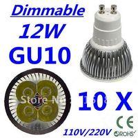 10pcs Free DHL and FEDEX express CREE Dimmable LED High power GU10 4x3W 12W led Light led Lamp led Downlight led bulb spotlight
