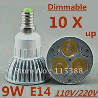 10pcs/lot Free DHL and FEDEX express Dimmable High power E14 3x3W 9W 110V/220V led Light Lamp Downlight led bulb spotlight