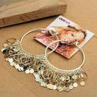 E025T  gold tassel 2013 fashion hoop earrings  for womenTC-4.99 20D