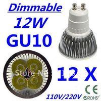 12pcs Free DHL and FEDEX express CREE Dimmable LED High power GU10 4x3W 12W led Light led Lamp led Downlight led bulb spotlight