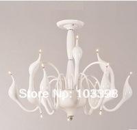 Wholesale new items lamps design 220v 110v 24 headlight g4 swan iron chandelier modern lights white color lamps for home lights