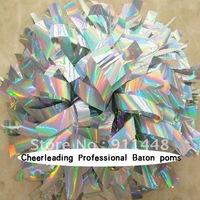 "mini order 10 pieces cheerleader pom pom dual-head baton 6"" * 3/4"" professional poms holographic silver mini order 10 pieces"