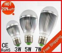 Free shipping 3W , 5w , 7w 85-265V silver led globe bulb E27 lamp AC 85-265C Free Shipping HOT !