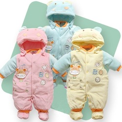 Autumn and winter thickening baby bodysuit newborn set cotton-padded jacket outerwear baby romper wadded jacket clothes Y020(China (Mainland))