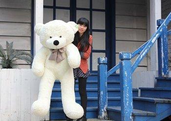 "NEW GIANT 39"" BIG PLUSH SLEEPY TEDDY BEAR HUGE SOFT 100% COTTON TOY*white color"