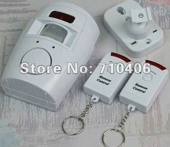 Home Wireless   motion sensor alarm, 2 Remote Control built in PIR sensor and siren, Drop&Free Shipping