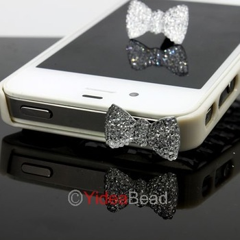 Free Shipping 4pcs Crystal Bow Ribbon Bowknot Anti Dust Ear Cap Plug For Phone 261355