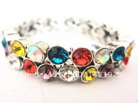 Environmental protection alloy bracelet, electroplating with golden color crystal bracelet