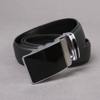 "Free shipping high-quality  mens belts Men Auto Lock Buckle Genuine Leather 1.3"" Black Belt Career Belt cbn BT-ML285  SM-XXL aq"