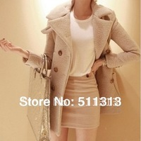 FREE SHIPPING high quality medium-long stand collar overcoat wool coat