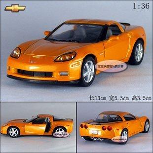 New 1:36 Chevrolet 2007 CORVETTE Z06 Alloy Diecast Model Car Orange B385