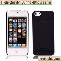 New Stylish Card Holder PC Hard Case Cover for iPhone 5 5G 5th Free Shipping UPS DHL HKPAM CPAM DA-67