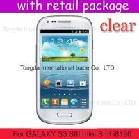 DHL shipping 100x clear screen protector lcd film guard case for samsung GALAXY S3 SIII mini S III i8190,with retail package