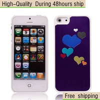 New Aluminum Metal Heart Pattern Design Hard Case Cover for Apple iphone 5 5G 5th Free Shipping UPS DHL HKPAM CPAM WR-2