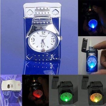 Colorful LED Falsh Light Watch Flip Top Jet Flame Windproof Tobacco Lighter