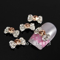 100pcs/lot Salon 3D Alloy Silver Plated Shinny Rhinestones Bow Tie Bowknot Acrylic Nail Art Tips Craft Decoration DIY Design