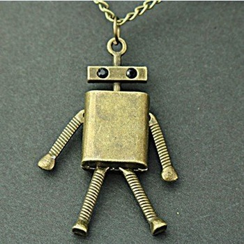 Vintage bronze robot alloy pendant necklaces Fashion woman sweater chain Free shipping Mini order $10+gift  XL3025