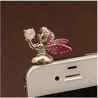 <Min.order $15,can mix models> A02329 diamond fairy mobile phone dust plug earphones hole small accessories