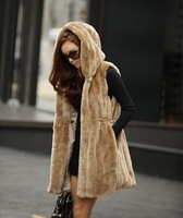 Free Shipping 2013 Autumn Winter Fur Coat  Newest Fashion Imitate Rabbit Hair Fur Vest Overcoat (Black+Khaki+Beige)121108#10