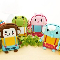 5 pcs Brand new Fashion children satchel Cosmetic bag Kawaii Single shoulder bags Monkey/Elephants/Frog/Rabbit for you choose