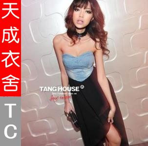 2014 new fashion sexy elegant irregular sweep denim patchwork chiffon tube top dress one-piece dress