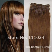 "full head human hair extensions,15""-22inches,70g-100g/set Great length Chestnut Brown #8 clip in extensions"