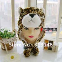Leopard Cartoon Animal Fluffy Plush Earmuff  Warm Winter Hat Cap/Beanie Free shipping Hear wear