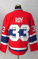 #33 Patrick Roy Men's Classic Vintage Home Red Throwback Hockey Jersey