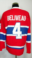 #4 Jean Beliveau Men's Classic Vintage Home Red Throwback Hockey Jersey