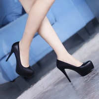 2012 autumn new arrival platform ultra high heels single shoes female nude color thin heels fashion square toe high-heeled shoes