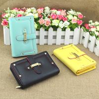 Wallet female 2012 rivet drawstring type women's long short design wallet card holder