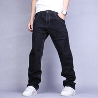 wholesale - spring black jeans male straight slim tidal current male denim trousers
