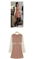 2012 European and American style fashion temperament Slim round neck zipper long-sleeved dress 8104