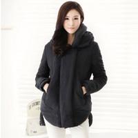Free Shipping 2012 winter new arrival sz women slim all-match medium-long leather patchwork wadded jacket cotton-padded jacketss