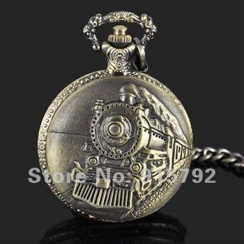 Classical Railroad Steam Train Quartz Pocket Watch with Chain Bronze Tone Wholesale Price Nice Gift H006
