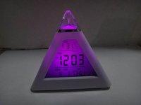 Freeshipping LED 7 color changing Triangle Pyramid music Alarm Clock LED  Clock