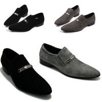KING TIME Freeshipping Male Black Suede Scrub Pointed Toe Fashion Business Formal Leather     LXZ066