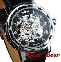 Winner Black Skeleton Hand Wind Mechanical Watch Men' Watch,  6 pcs/lot