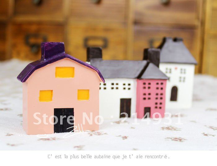 Wholesale 120pcs Lot Polyresin Country House, 3X France Miniature House, Resin House-Ornament Gift, Small size, Free shipping(China (Mainland))