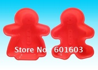 Wholesale free shipping-12pcs #set of 2 Kitchencraft Gingerbread Girl + Boy Cake / Mousse Silicone Bake Mould muffin baking tray