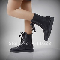 Lacing flat heel low martin boots female genuine leather round toe platform fashion plus size flat boots female