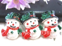 2012 new,20pcs/lot, Flat back resin snowman for hair &cell phone deceration- Christmas